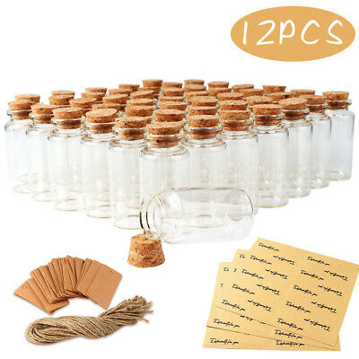 12x Small Clear Glass Cork Lid Bottles Jars Party Sweets Wedding Table Favours • 7.39£