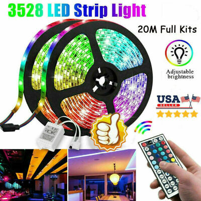 $18.59 • Buy 20M 66FT Flexible Strip Light 3528 RGB LED SMD Remote Fairy Lights Room TV Party