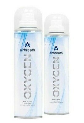 TWIN PACK Airbreath® OXYGEN 2L OXYGEN IN A CAN RECREATIONAL OXYGEN SUPPLEMENTAL • 10.20£