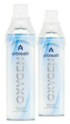 TWIN PACK Airbreath® OXYGEN 5L OXYGEN IN A CAN RECREATIONAL OXYGEN SUPPLEMENTAL • 16.20£