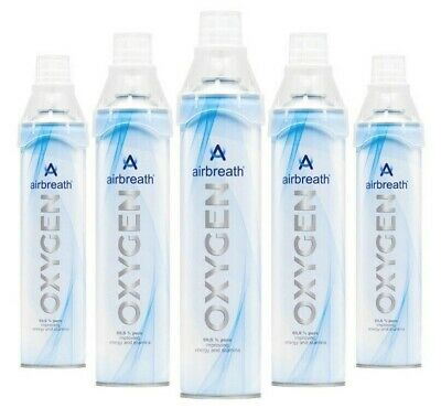 FIVE PACK Airbreath® OXYGEN 7L OXYGEN IN A CAN RECREATIONAL OXYGEN SUPPLEMENTAL • 45.50£