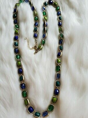 $ CDN13.56 • Buy Lia Sophia Long Necklace Green And Blue Stone With Gold Chain