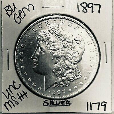 $35 • Buy 1897 Bu Gem Morgan Silver Dollar Unc Ms++ Genuine U.s. Mint Rare Coin 1179