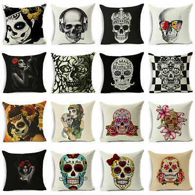 Pillow Case Cushion Skull Cotton Linen Fashion Sofa Throw Cover Home Decor 18x18 • 2.79£