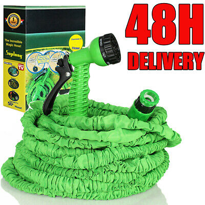 100FT Expandable Flexible Garden Hose Pipe With Fittings & Spray Gun HEAVY DUTY • 12.49£