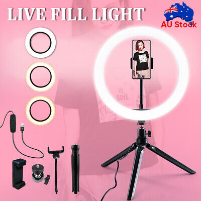 AU16.99 • Buy 10  Dimmable LED Ring Light With Tripod Stand Selfie Make Up Video Lamp Lighting