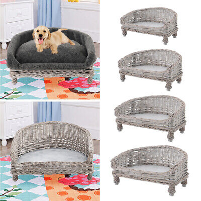 £46.95 • Buy Vintage Wicker Pet Dog Cat Bed Raised Sofa Couch Sleeping Nest Basket Chair Bed