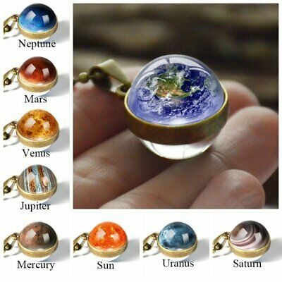 £2.35 • Buy Luminous Solar System Planet Galaxy Double Side Glass Astronomy Pendant Necklace