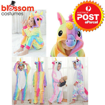 AU23.95 • Buy Rainbow Unicorn Onesie0 Child Unisex Kigurumi Cosplay Costume Pyjamas Pajamas
