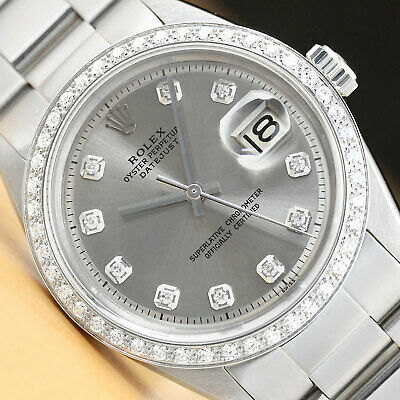 $ CDN6165.71 • Buy Rolex Datejust Mens 18k White Gold Diamond Stainless Steel Gray Dial Watch