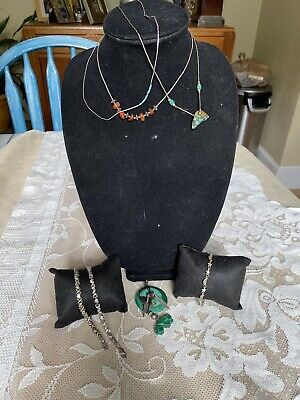 $ CDN17.62 • Buy Sterling Silver Jewelry LOT Turquoise Malachite Buffalo Fetish Bracelet Liguid
