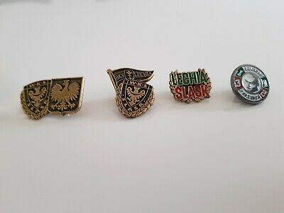 Set 4 Pin Badges Slask Wroclaw Lechia Gdansk Football Pin Badge Ultras Hooligans • 19£