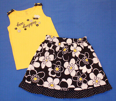 $9.99 • Buy Gymboree Bee Chic Embellished Happy Tank Top & Floral Dot Skirt Outfit 9 LN