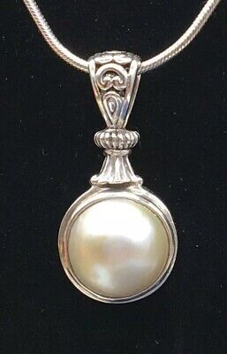 $95 • Buy Vintage Mabe Pearl Sterling Silver Pendant Necklace