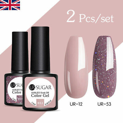 UR SUGAR 2 Bottles Set UV Gel Nail Polish Soak Off Gel Varnish Glitter Pink Red • 6.50£