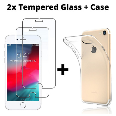 Screen Protector For IPhone 6s 6 7 5 8 Plus X XS Tempered Glass Genuine Metal • 1.45£