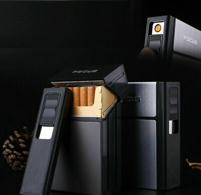 2019 New FOCUS Rechargeable Cigarette Case Dispenser With Built In Torch Lighter • 6.38£