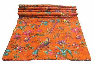 Indian Handmade King Kantha Quilt Vintage Bedspread Throw Blanket Coverlet • 39.95£