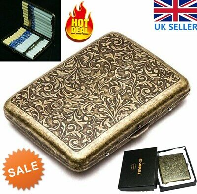 Cigarette Case Retro For 20 Pcs Smokes With Box Vintage Metal Holder Storage UK • 8.75£