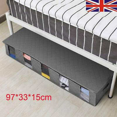 Large Capacity Under Bed Storage Bag Box 5 Compartments Clothes Organizer Grey • 5.99£
