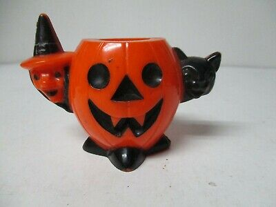 $ CDN54.13 • Buy Vintage Halloween Hard Plastic - JOL Witch Cat Candy Holder W Black Features