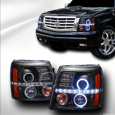 $272.95 • Buy Fits 02-06 Cadillac Escalade Black LED Halo Projector Head Lights Parking Amber