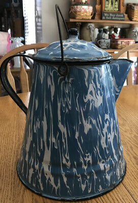 "$69.99 • Buy Vintage Antique Blue White Swirl Enamel Coffee Tea Pot Cowboy Kettle 11"" Large"