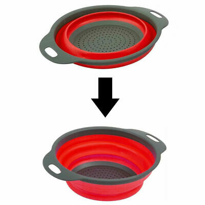 Kitchen Collapsible Colander Folding Strainer Silicone Space-Save Sieve Cooking • 5.99£