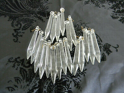 $12 • Buy Awesome Lot Of 20 Large Vintage Crystal Glass Chandelier Lamp Spear Prisms