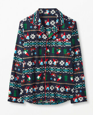 $10 • Buy NWT Hanna Andersson Navy Blue Gnomes Holiday Flannel Pajama Shirt L
