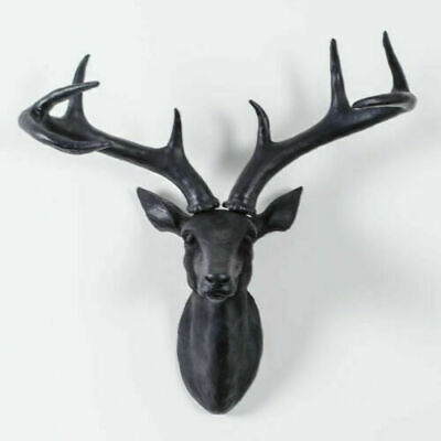 £22.99 • Buy Large Black Wall Mounted Stag Deer Head Resin Antlers Head Business & Home Decor