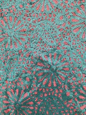 2.17m Pink And Turquoise Green Sequins On Turquoise Blue Nylon Mesh 143cm Wide • 12.50£