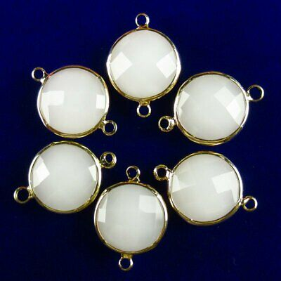 $ CDN24.15 • Buy 12Pcs Wrapped Faceted White Jade Round Connector Pendant 14x6mm 19g A-29BBS