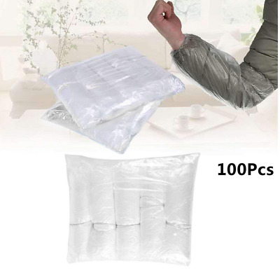 100 Disposable Plastic Arm Sleeves Cover Oversleeves CLEAN Protective Medical • 9.98£