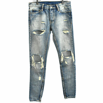 $ CDN108.74 • Buy MNML Crush Damage Processing Hem Zip Denim Pants Indigo