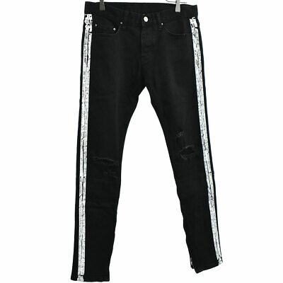 $ CDN108.74 • Buy MNML Damage Processing Side Line Paint Hem Zip Denim Pants Black