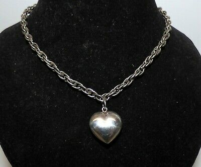 Edwardian Silver Puffy Heart Pendant On Silver Rope Chain Classic Puffy Heart • 30£