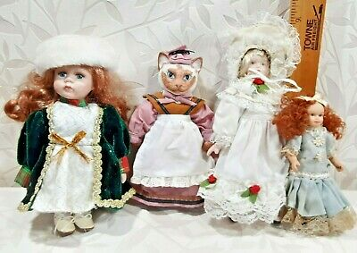 $ CDN1.34 • Buy Vintage Lot Of 4 Porcelain Ceramic Fancy DOLLS Cat In A Dress Red Hair  BID Now!