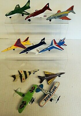 MATCHBOX SKYBUSTERS 10 Assorted Used Planes INC Corsair-Phantom-Mig 21-Mirage F1 • 15£