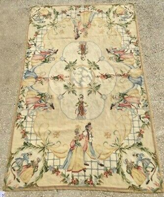 221 Estate Vintage French Aubusson Rug Hand Embroidered Size: 5.8 X 3.6 Feet • 0.10£
