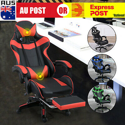 AU149 • Buy Gaming Office Chair Racing Executive Footrest Computer Seat PU Leather Backrest