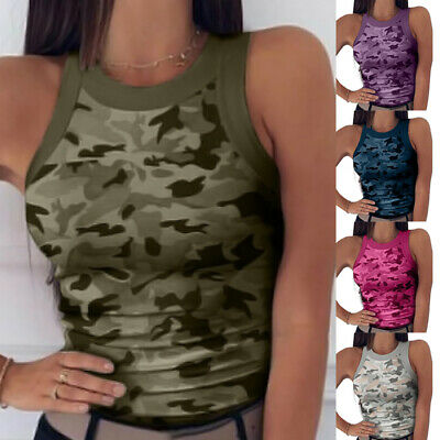 £5.57 • Buy Womens Sleeveless Camo Vest Tops Summer Casual Slim Fit Tank Top T-Shirt Blouse