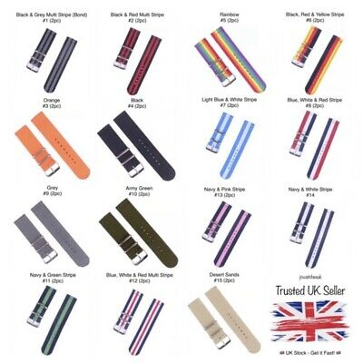 Nato Watch Strap Two Piece Nylon Band Military Army Navy Diver 18, 20, 22 & 24mm • 2.99£