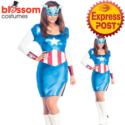 £27.54 • Buy C707 Miss Captain America Dream Marvel Licensed Fancy Dress Ladies Costume