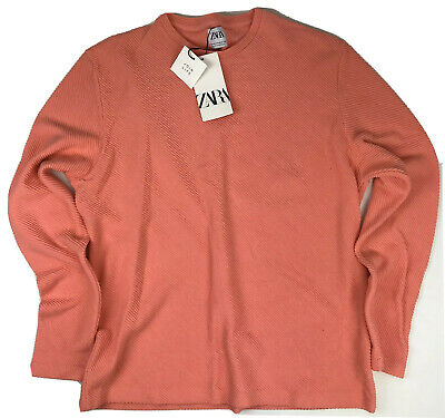 $18 • Buy New Zara Mens Hard Pink Textured Ribbed Pullover Yacht Shirt Size XL