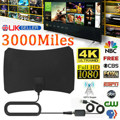 1200Miles Indoor HD Digital TV Antenna Aerial Signal Amplified 4K 1080P Freeview • 10.99£