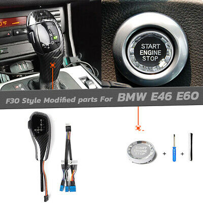 $98.40 • Buy F30 Style Carbon LED Shift Knob Selector Engine Refit For BMW E46 E60 3 5 Series
