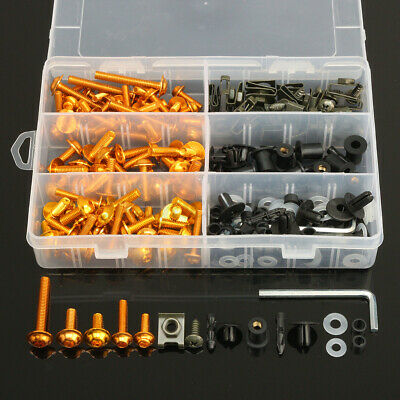 £16.99 • Buy 223x Motorcycle Aluminum Fairing Bolts Kit Body Fasteners Clip Screws Gold