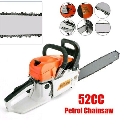 """View Details Heavy Duty 52CC 20"""" Petrol Chainsaw Handheld With Chains Lopping Pruning Tool UK • 68.99£"""