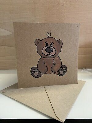 £3.25 • Buy Bear Birthday Card Hand Painted Hand Made Card FREE POSTAGE
